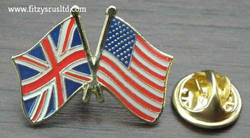 America USA / UK Union Jack Friendship Lapel Hat Tie Cap Pin Badge United States